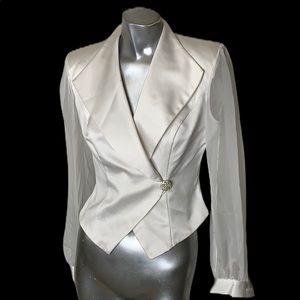 J.R. Nites by Caliendo White Satin jacket size 8
